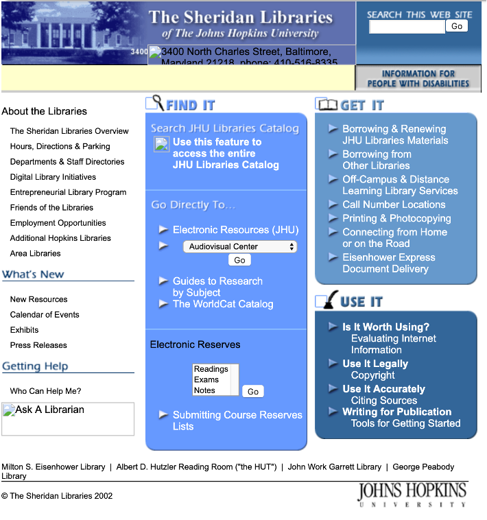 Image of a screenshot displaying the original design of the homepage of the Sheridan Libraries website, before the redesign.