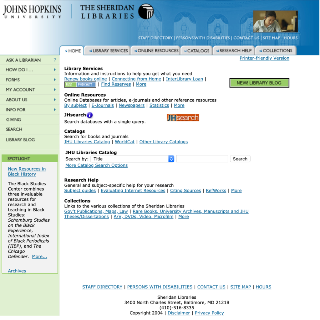 Image of a screenshot displaying the redesigned homepage of the Sheridan Libraries website.
