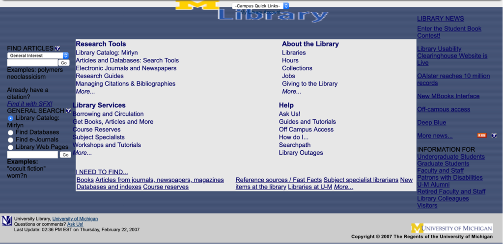 Image of a screenshot of the University of Michigan University Library Homepage when the redesign project began.