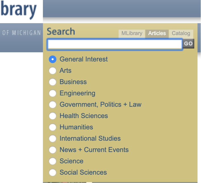 Image of a screenshot of the Articles search tab for searching by keyword across MLibrary databases.