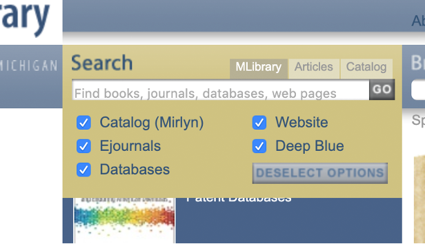 Image of a screenshot focused on the Search tab of the redesigned MLibrary website.